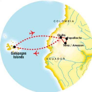 Ecuador Tour Map Sensory Traveller Holidays